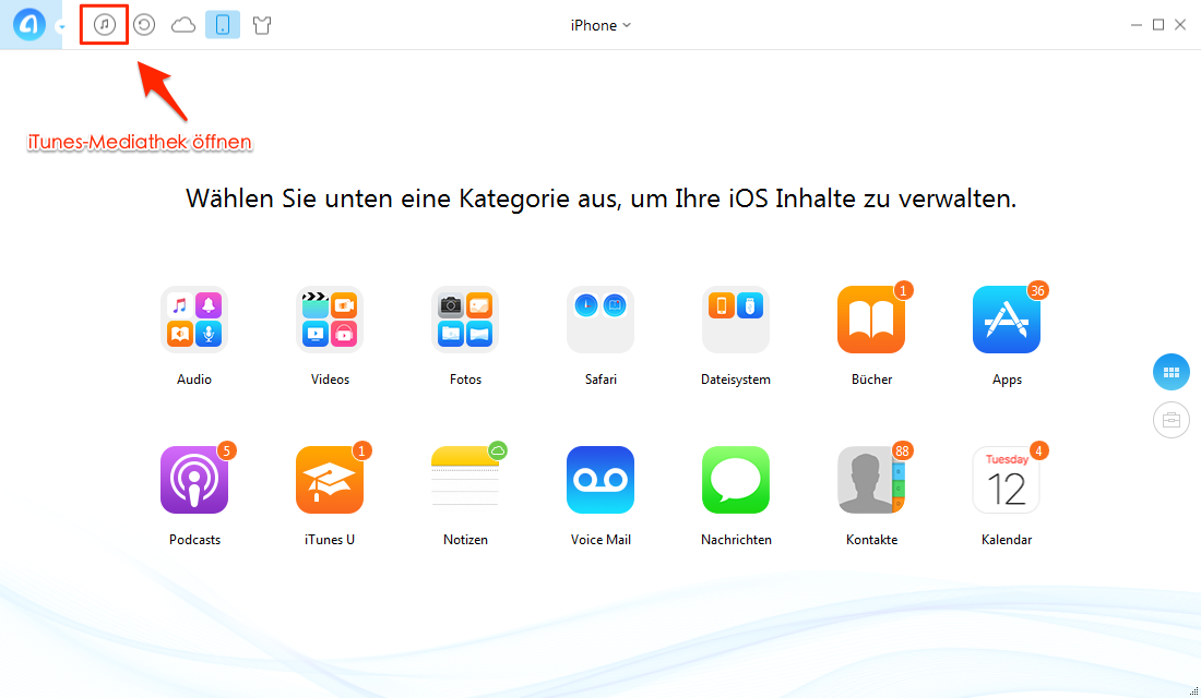 AnyTrans öffnen und iTunes U auswählen - Schritt 1