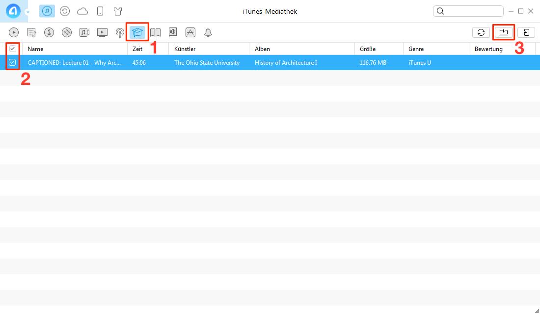 Schnell! iTunes U vom iPhone auf den PC übertragen - Schritt 2