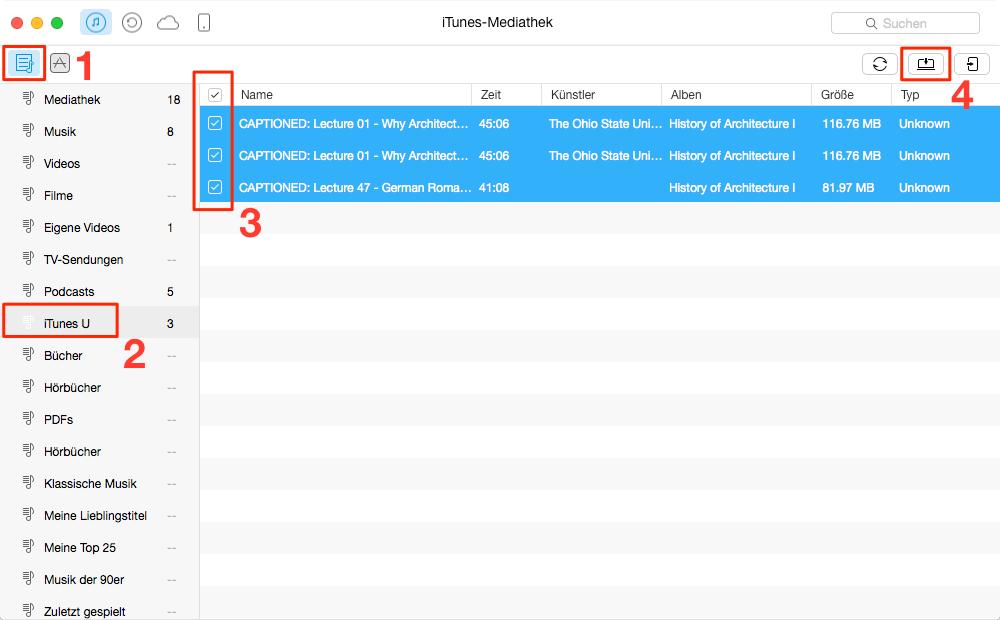 Einfach! iTunes U von iTunes auf iPhone sicher übertragen - Schritt 2