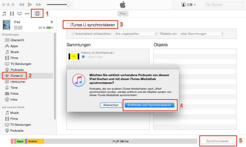 Über iTunes überträgt man iTunes U von iTunes auf iPad