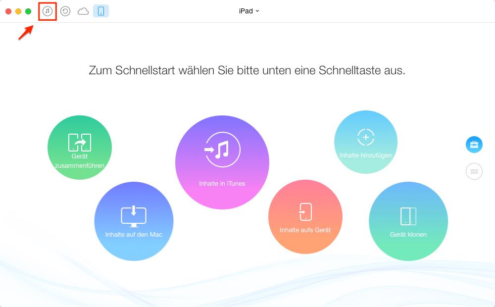 AnyTrans und iTunes Bibliothek öffnen - Schritt 1