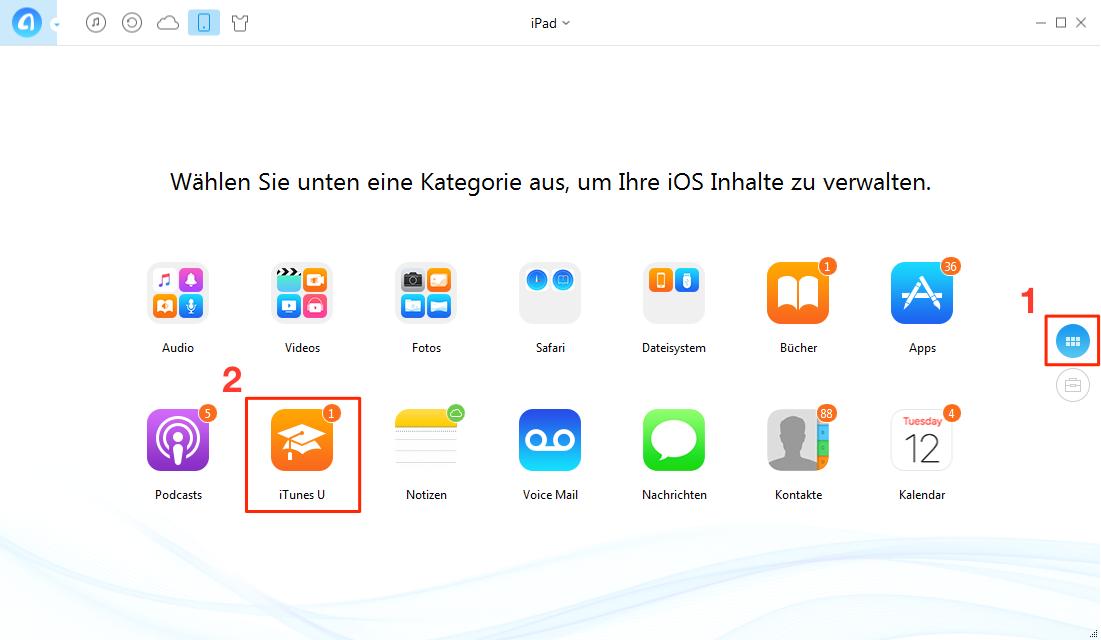 AnyTrans starten und iTunes U wählen - Schritt 1