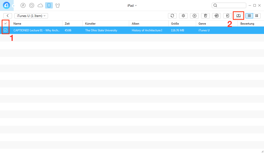 Einfach! iTunes U vom iPad am PC sichern - Schritt 2