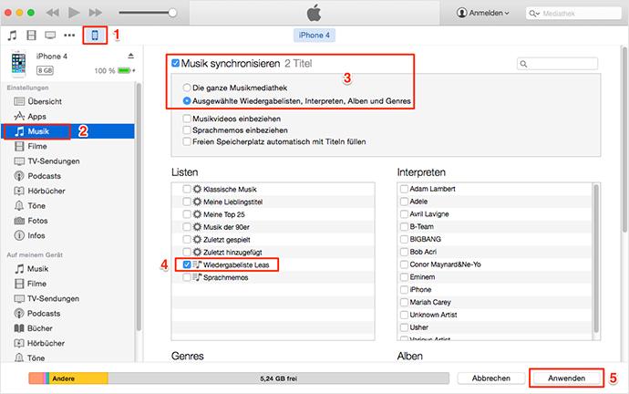 Wiedergabeliste von iTunes direkt auf iPhone übertragen
