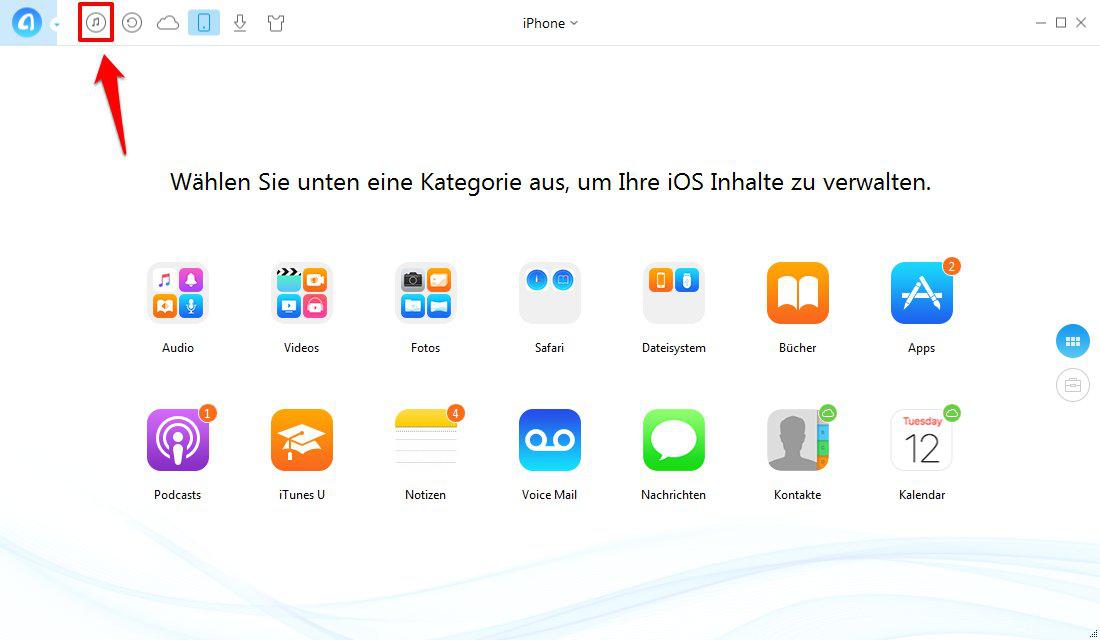 iTunes Wiedergabeliste auf iPhone – Schritt 1