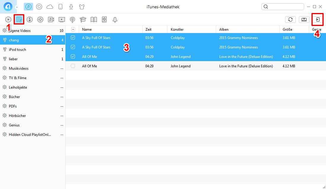 iTunes Wiedergabeliste auf iPhone kopieren – Schritt 2