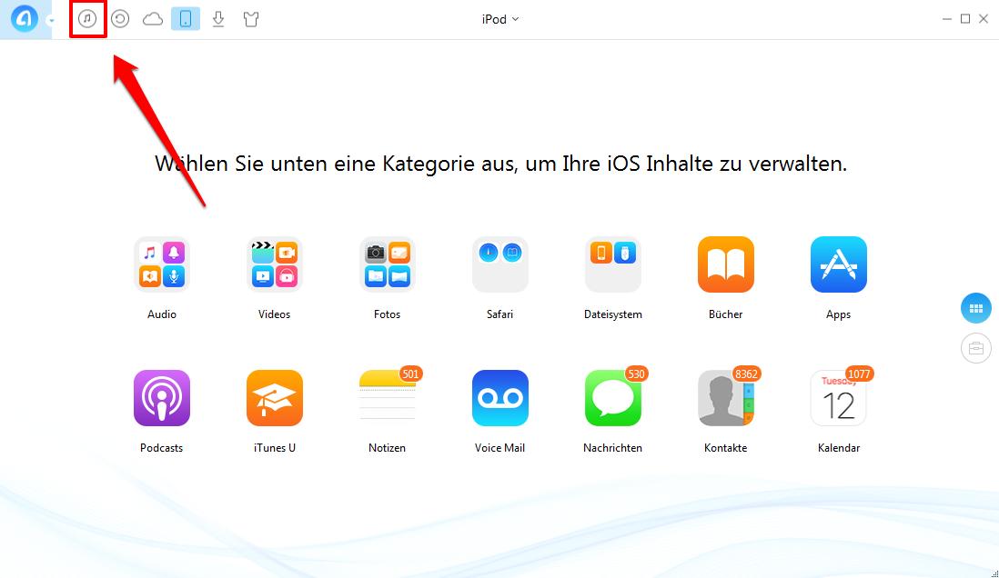 Wiedergabeliste von iTunes auf iPod über AnyTrans senden – Schritt 1