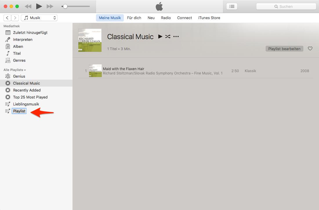Neue Wiedergabeliste in iTunes erstellen – Schritt 3