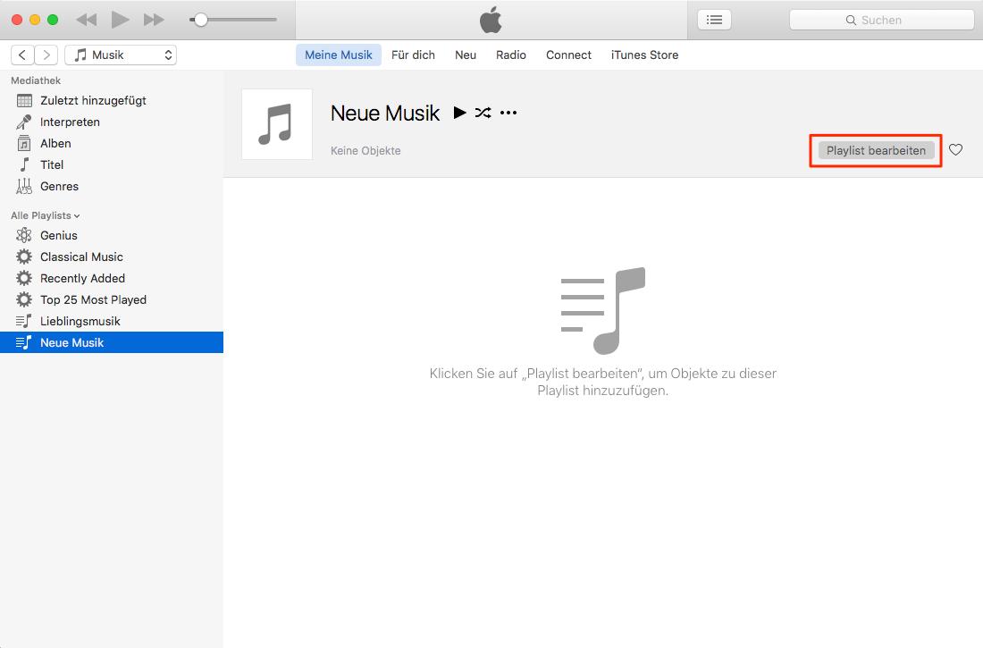 Playlist in iTunes bearbeiten – Schritt 4