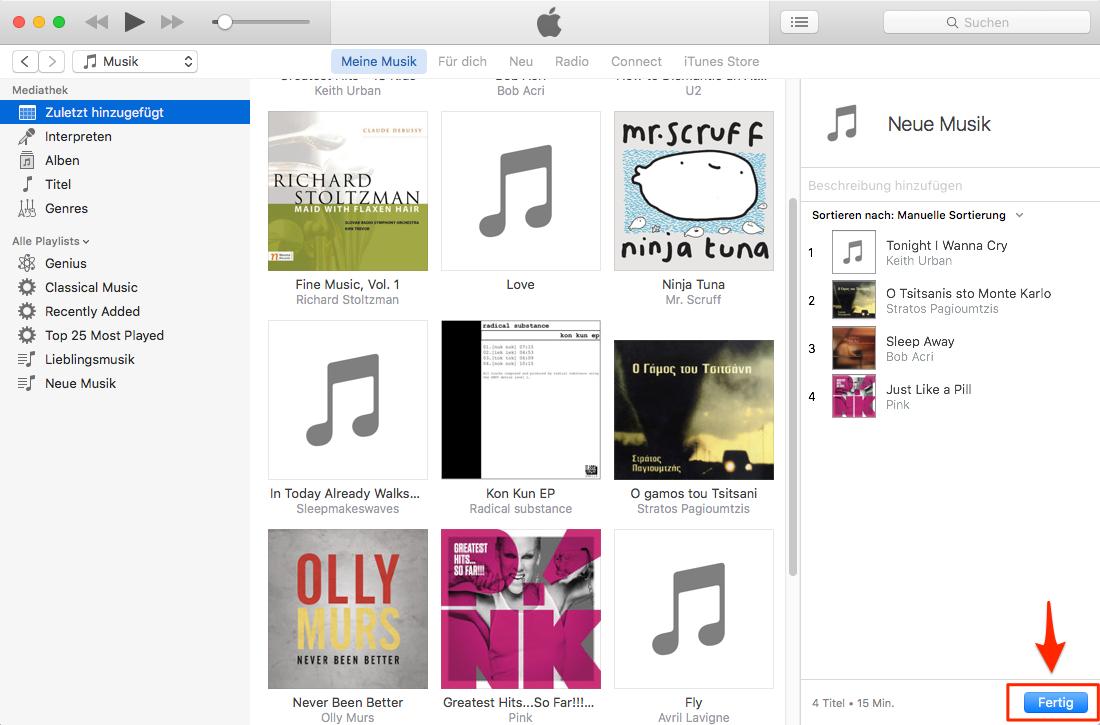 Wiedergabeliste in iTunes hinzufügen – Schritt 5