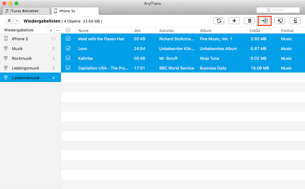 Wiedergabeliste in iTunes importieren – Schritt 4