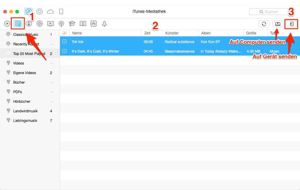 iTunes Wiedergabeliste auf iPhone 7 – Schritt 3