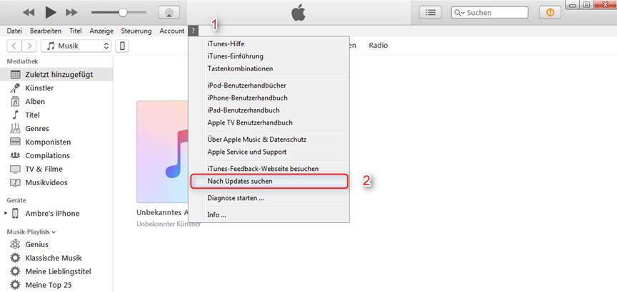 iTunes zeigt iPhone nicht an – Aktualisierung auf die neueste Version von iTunes