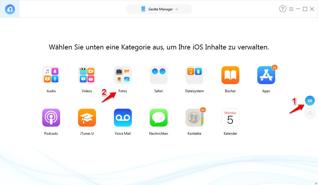 iTunes zeigt keine Fotos und was tun – Schritt 1