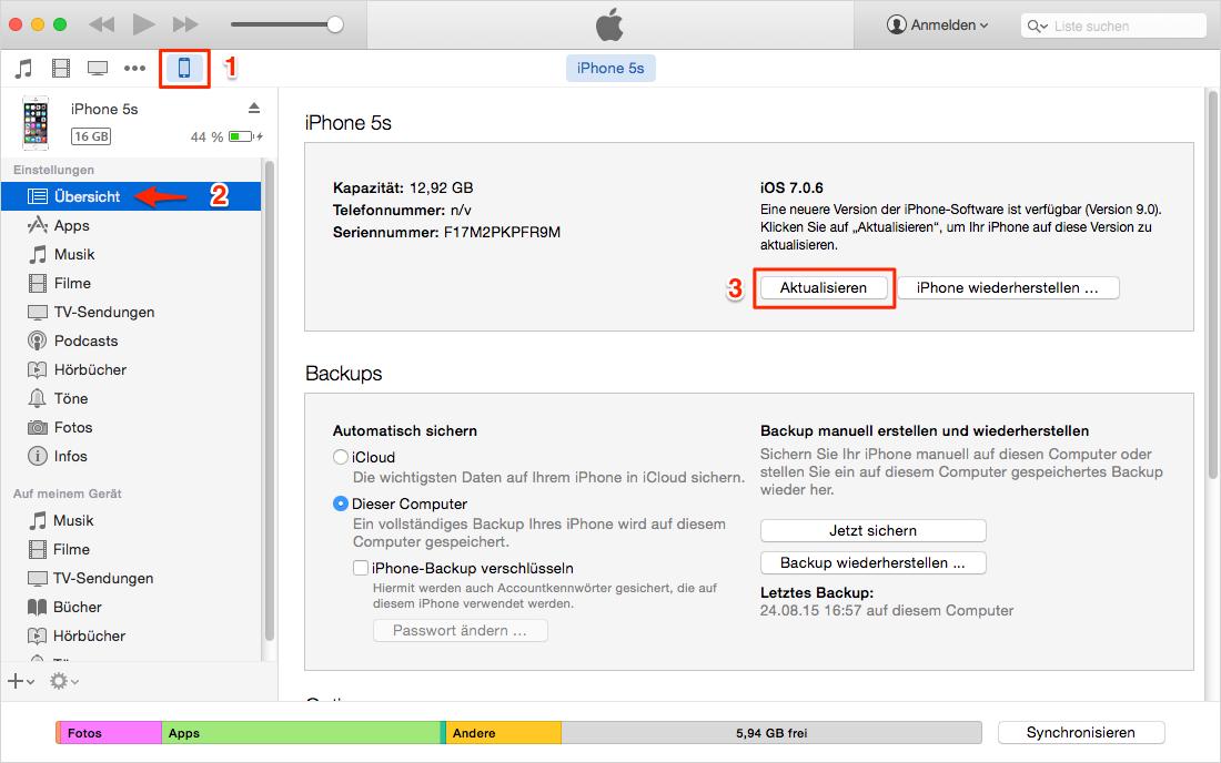 Jailbreak iGerät über iTunes auf iOS 9 updaten – Schritt2