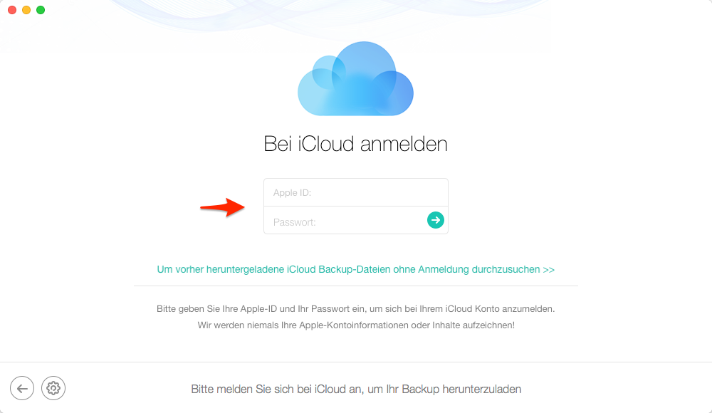 Apple ID und Passwort eingeben - Schritt 2
