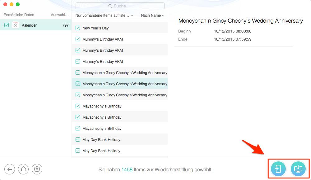 iCloud Kalender wiederherstellen – Schritt 5