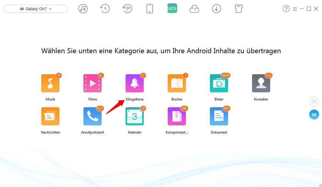 Android Klingeltöne auf iPhone übertragen – Schritt 2