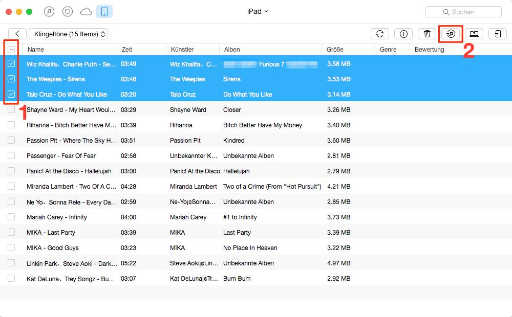 Klingeltöne in iTunes sichern – Schritt 3