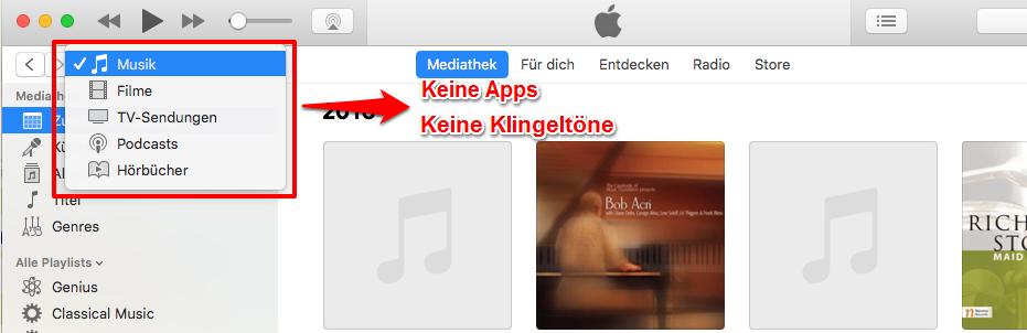 Klingeltöne vom iPhone auf iTunes übertragen – iTunes 12.7 zeigt keine Töne an