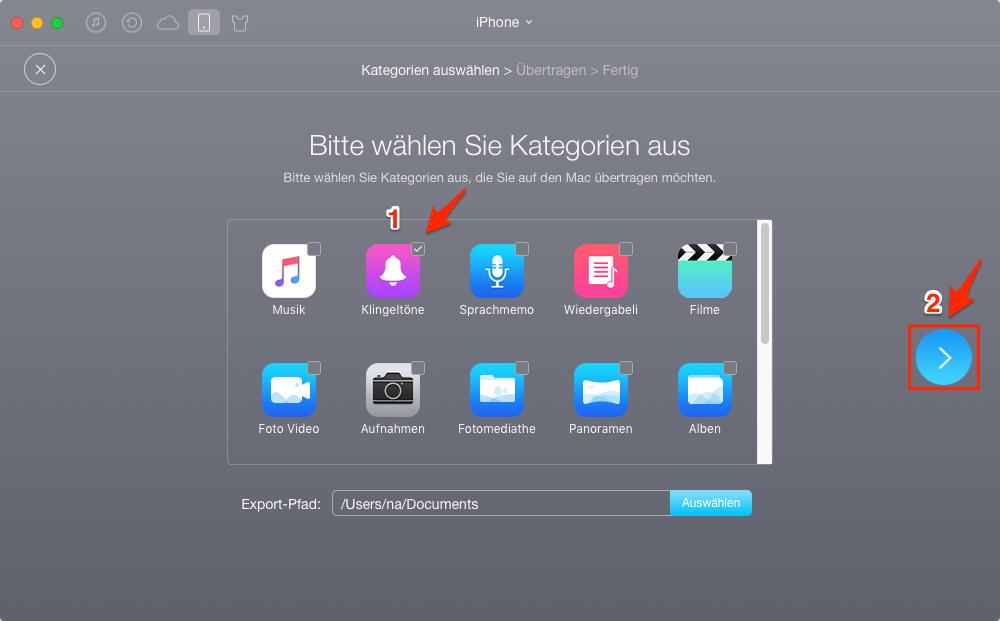 Alle Klingeltöne vom iPhone auf Mac auf einmal versenden – Schritt 2