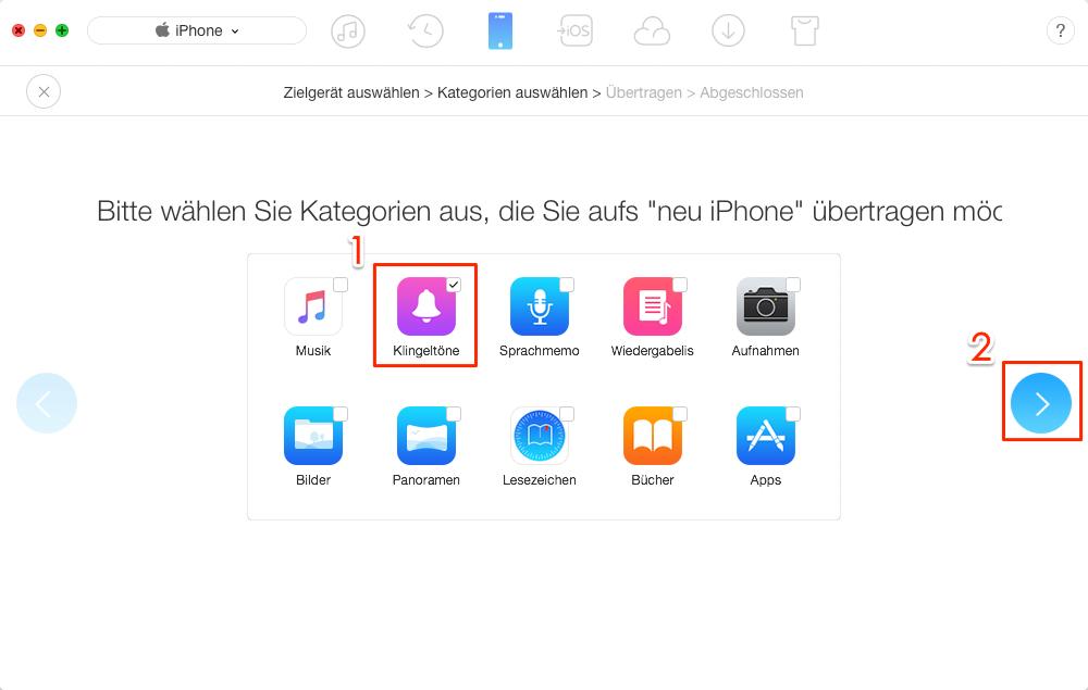 Alle Klingelton vom alten iPhone auf iPhone 8 direkt übertragen – Schritt 3