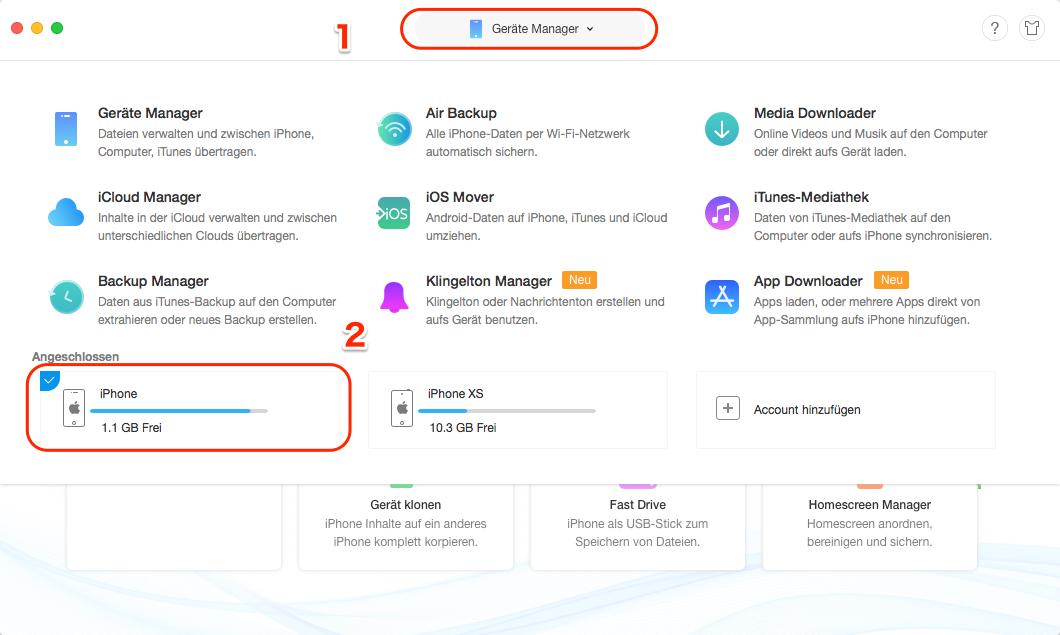 Klingelton von dem iPhone zu iPhone direkt übertragen – Schritt 1