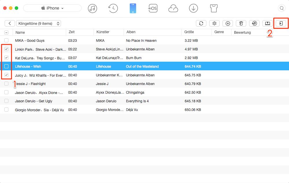 Klingeltöne von iPhone zu iPhone X/8(Plus)/7, ohne iTunes – Schritt 3