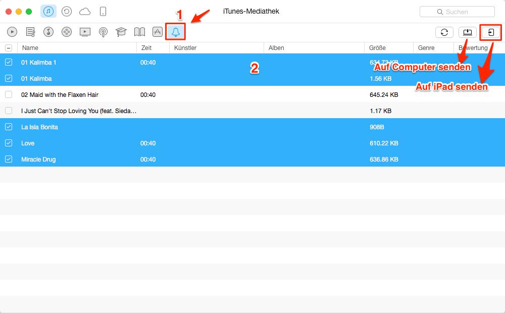 Klingeltöne von iTunes auf iPad übertragen – Schritt 2