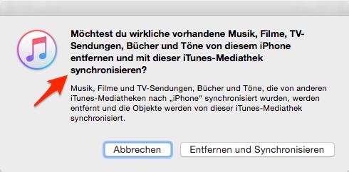 Hinweis von iTunes