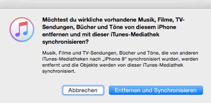 Klingelton vom iTunes auf iPhone - Hinweis von iTunes