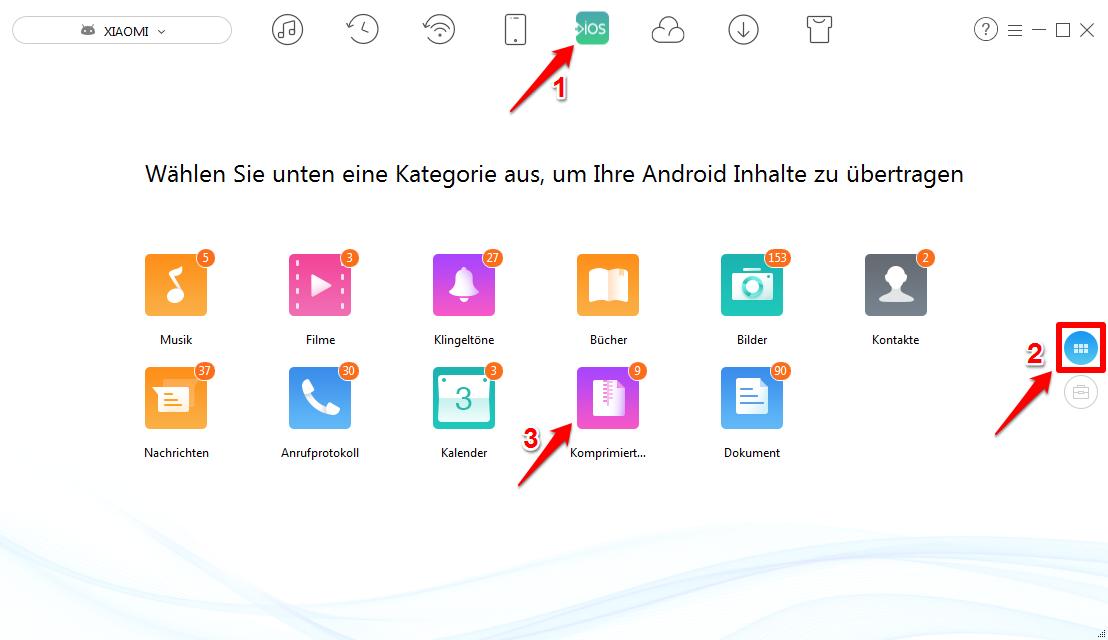 Komprimierte Daten von Android auf iPhone – Schritt 2