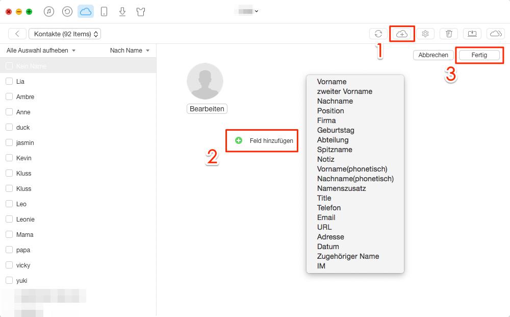 Kontakte in iCloud hinzufügen & importieren – Schritt 3