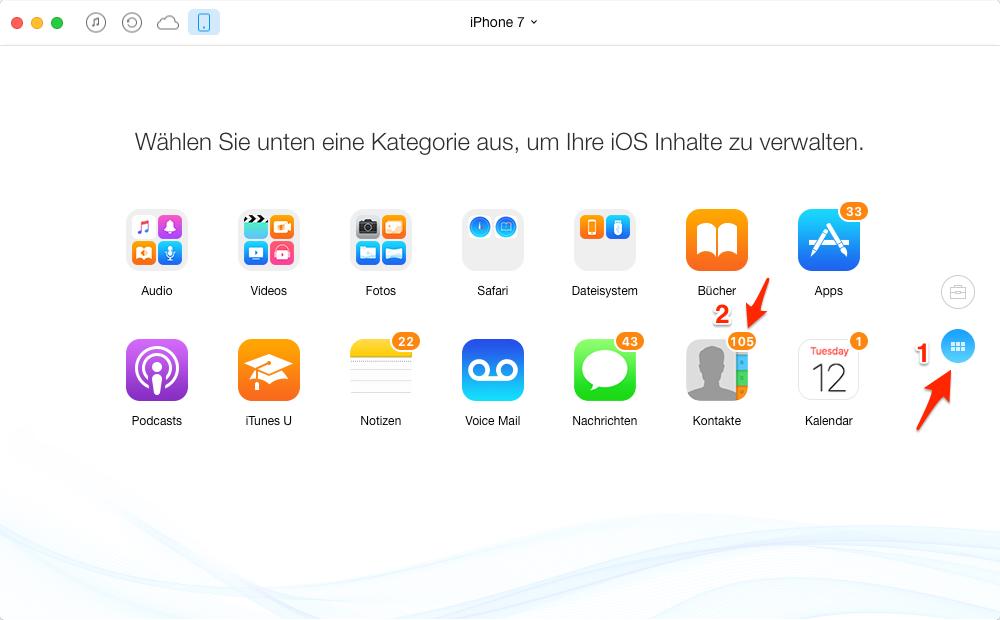 Kontakte auf iPhone 7 übertragen – Schritt 2