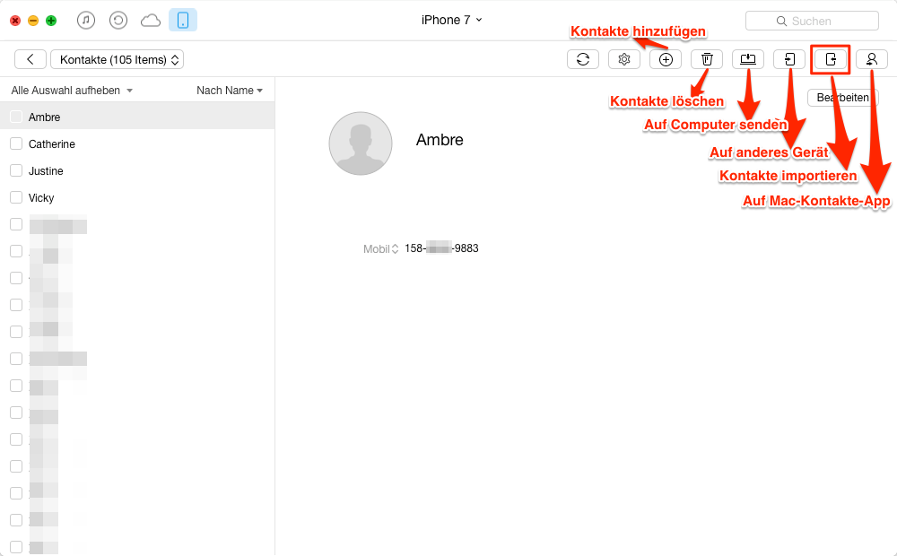 Kontakte vom Mac auf iPhone übertragen – Schritt 3