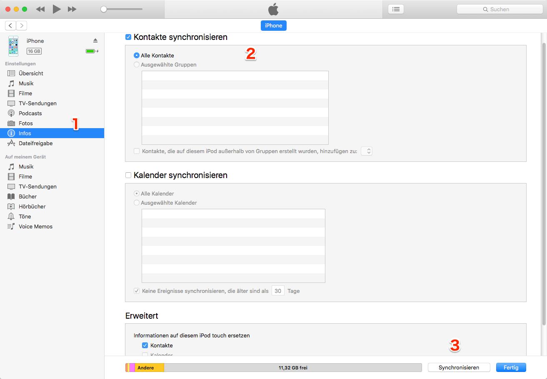 Kontakte auf neues iPhone übertragen - mit iTunes