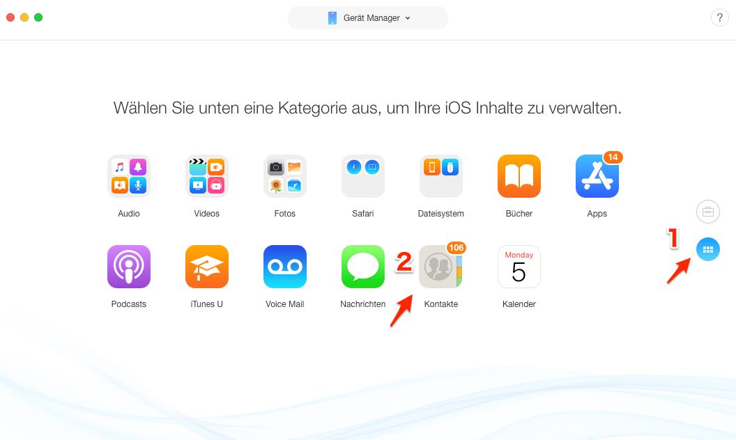 Wie kann man Kontakte auf neues iPhone übertragen - Schritt 2
