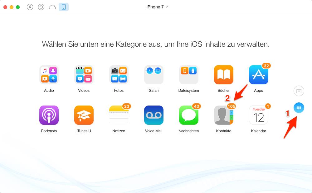 iPhone Kontakte mit Mac synchronisieren – Schritt 2