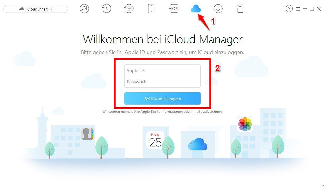 iPhone Kontakte auf iCloud synchronisieren - Schritt 1
