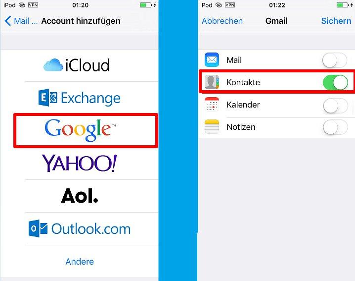 Kontakte mit Google synchronisieren iPhone - Schritt 2