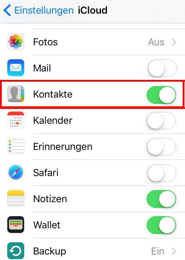 Kontakte synchronisieren iPhone