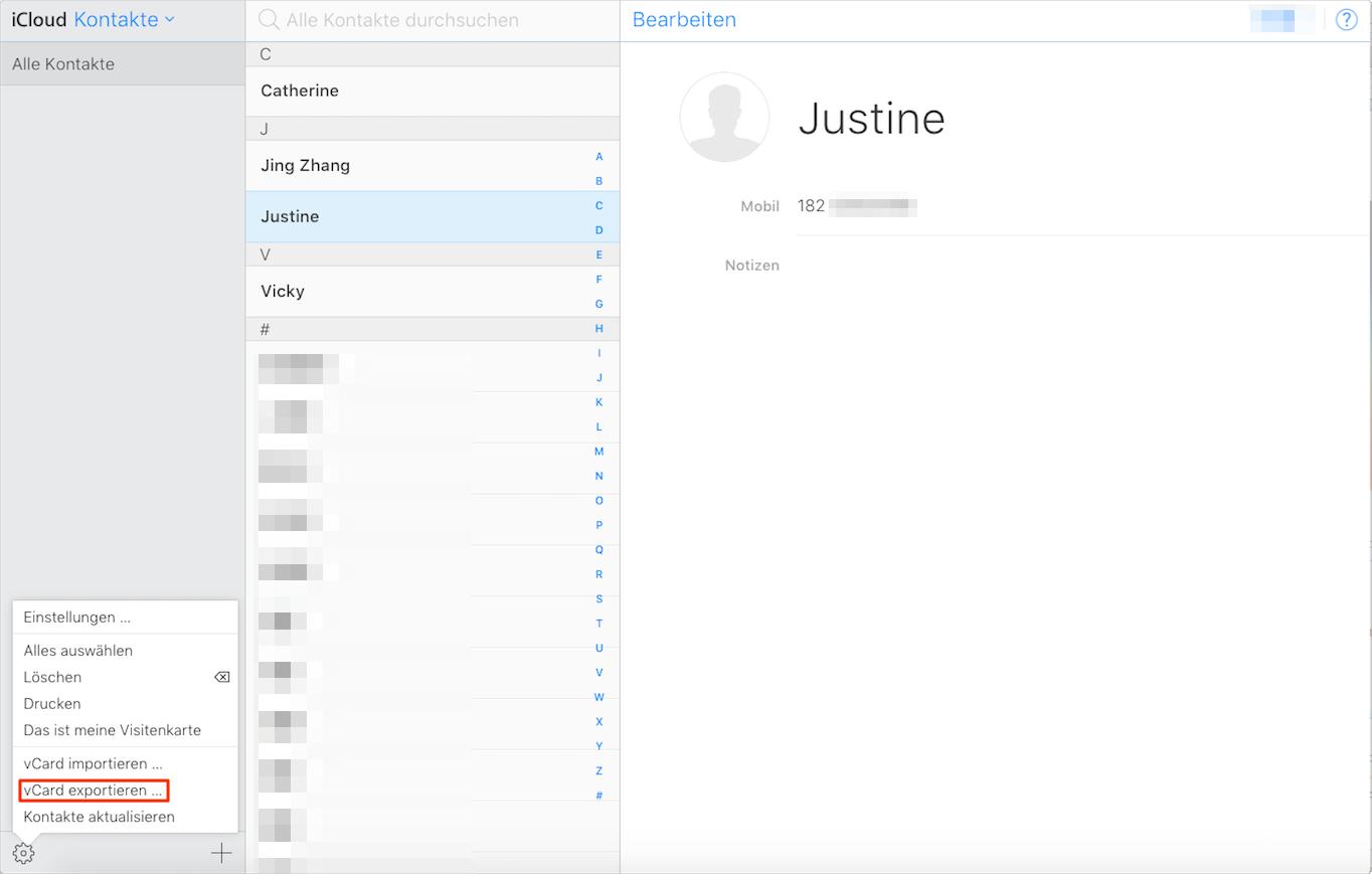 Wie kann man iCloud Kontakte wiederherstellen – Schritt 2