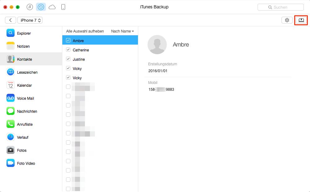 Kontakte vom iTunes-Backup exportieren – Schritt 3