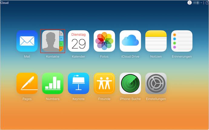 iCloud Kontakte auf PC herunterladen – Schritt 1