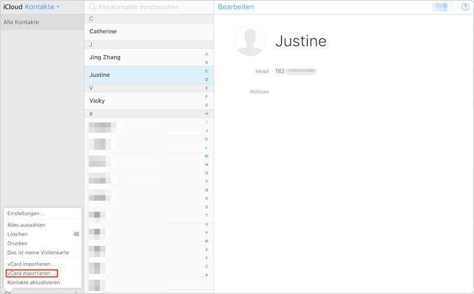 iCloud Kontakte wiederherstellen – Schritt 2