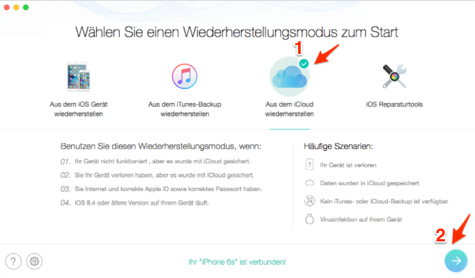 Gelöschte Kontakte aus iCloud-Backup wiederherstellen – Schritt 1