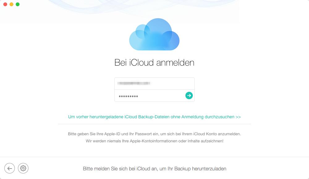 Nur Kontakte aus iCloud wiederherstellen: Apple-ID einloggen – Schritt 2