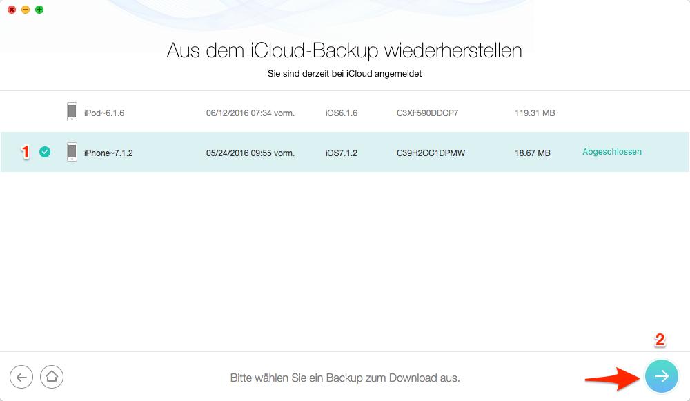 iCloud Kontakte wiederherstellen: iCloud Backup auswählen – Schritt 3