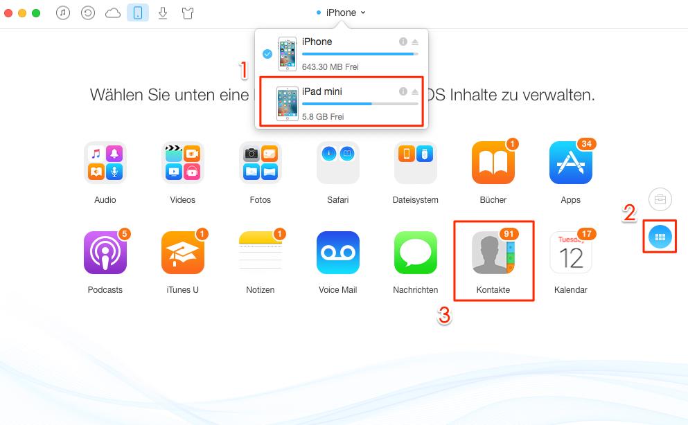 Fenster vom iPad öffnen und kontakte wählen - Schritt 2