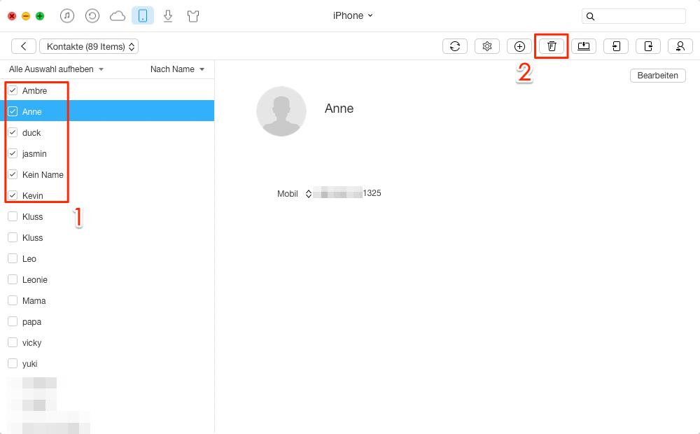 Selektiv & direkt: Kontakte vom iPad auf iPhone übertragen- Schritt 3